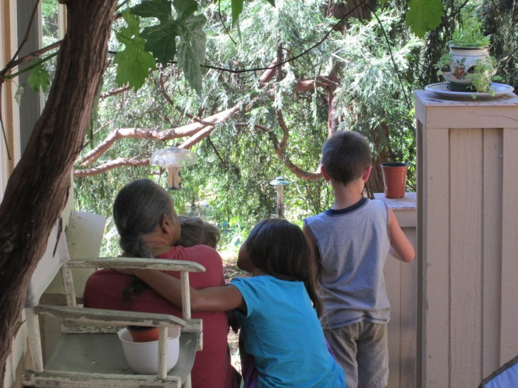 Guari and grandkids watching the birds