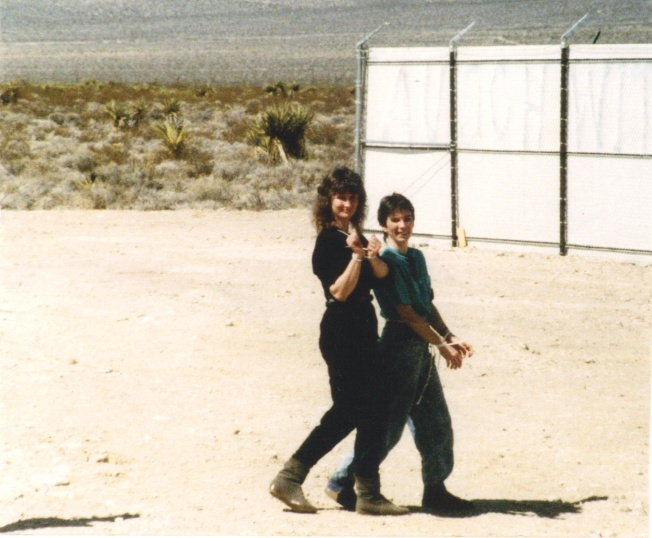 Sharon arrested with Debi in the 1980s at the Nevada Test Site at a  Good Friday service