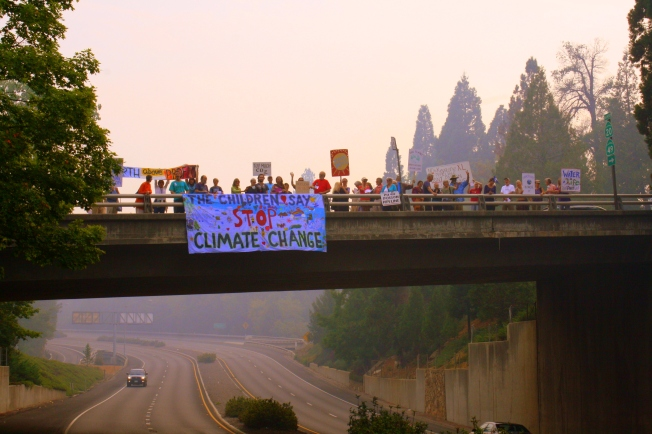 Peoples Climate March in rural Nevada City, California, suffering from drought and  wildfires.  Photograph by Guarionex Delgado