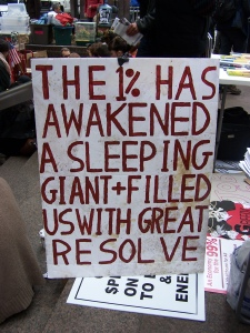 Sign at Occupy Wall Street .